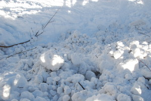 Avalanche balls of compacted snow